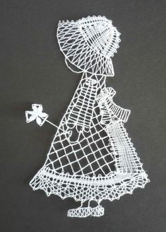 All dressed up Scrap Quilt Patterns, Bobbin Lace Patterns, Embroidery Patterns, Machine Embroidery, Crochet Bookmark Pattern, Crochet Bookmarks, Lace Art, Lacemaking, Parchment Craft