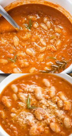 Cold Lunch Recipes, Fall Dinner Recipes, White Bean Soup, White Beans, Tomato Soup Recipes, Tomato Rice Soup, Chicken Tomato Soup, Tomato Basil Soup, Cooking Recipes