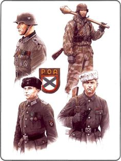 Russian Liberation Army  1. Eastern Battalion Lieutenant (Lieutenant ROA), 1944    2. Sergeant 1st Division ROA, 1944-1945.    3. The soldier ROA, 1945    4. Fighter antitank detachment ROA, 1945    5. Sleeve insignia ROA (embroidered version).