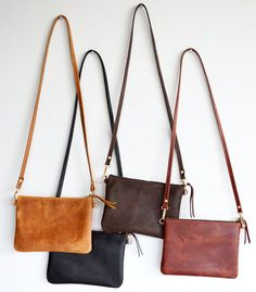 52a9c58364c Small Leather Crossbody Bag. Minimalist Leather Purse Converts to Wristlet  Clutch Bag. Choose Your Colour - Black, Toffee, Brown or Whiskey