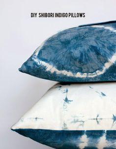 DIY shibori indigo dyed pillows