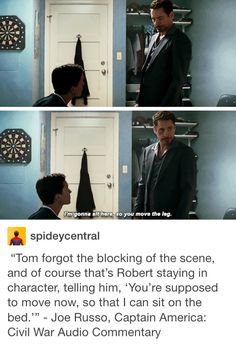 Captain America Civil War Commentary - That's because when anyone gets put in the same room as Robert Downey Jr., that person will forget what they are doing. << lol I never knew that, I assumed it was part of the script! Funny Marvel Memes, Marvel Jokes, Dc Memes, Avengers Memes, Marvel Facts, Funny Memes, Marvel Girls, Marvel Avengers, Marvel Dc Comics