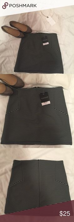 Topshop Stripe Mini Skirt Topshop Stripe highrise a line miniskirt is super adorable. It can be dress up or down with your favorite tank top or a bodysuit for a sleek appearance. Detail & Care: 96% polyester/4% elastane. Topshop Skirts Mini