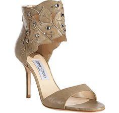 Jimmy Choo     dark beige leather crystal detail 'Lilt' ankle cuff sandals