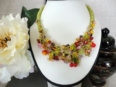spring flower garden beadwork necklace. beaded lampwork necklace. seed bead jewelry. fashion jewelry, floral necklace, spring jewelry - pinned by pin4etsy.com