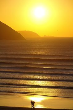 Sunset at Polzeath beach, Cornwall, England