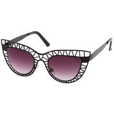 Charlotte Russe Cut-Out Cat-Eye Sunglasses ($5.99) ❤ liked on Polyvore featuring accessories, eyewear, sunglasses, black, matte black glasses, lens glasses, black sunglasses, black cat eye sunglasses and charlotte russe sunglasses