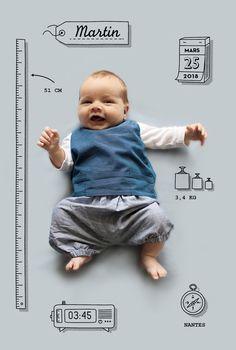 Faire-part de naissance Pictos by Marion Bizet pour www.fairepartnaissance.fr #birth #announcement