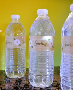 Spring Water Bottle Labels #Ahhhh perfect for an outdoor event.  Print, peel and stick :) #waterbottlelabels #labels #printable