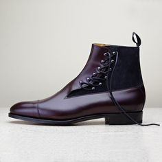 Based on Edward Green's own 1909 patent, the St James side tie boot is now available in nightshade and navy suede. Also available in black calf & suede and dark oak & mink suede.  #EdwardGreen #mensstyle #shoes #madeinengland