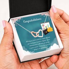 This necklace is a great way to show a special graduate how proud you are of their accomplishment of completing their business degree. The message card says: all of your hard work has payed off and you have your business degree. Your determination will help you go far in your career. I know that you are going to do great things. #businessschoolgraduategift #giftbusinessgraduat #necklaceforgraduation Graduation Necklace, Graduation Gifts, Christmas Gift For You, Perfect Christmas Gifts, Sober, Double Heart Necklace, Love Lily, Two Hearts, Heart Melting