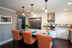 Aven and Phillip's kitchen has Savoy House Glass Filament pendants over the island