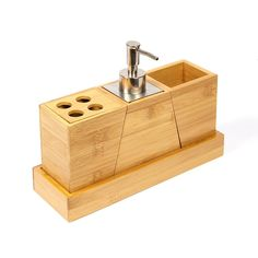 Woodluv Complimentary Set of 3 Bamboo Soap Dispenser Bathroom Accessories Holder Rack Stand - Made from 100% Natural Eco Friendly Natural Bamboo With Natural Honey Colour; Bamboo is not a tree-it's a grass;its also the fastest growing plant on Earth making it a highly Renewable Resource.  Amazon.co.uk: Kitchen & Home