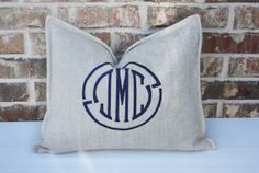 Initial Monogram Pillow / Shown with Navy by myvintagemonkey, $68.00