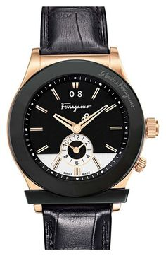 #BlackandGold Salvatore Ferragamo '1898' Leather Strap Watch, 40mm available at #Nordstrom