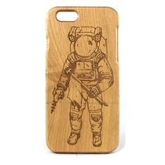 John Ruvin Supply | Spaceman iPhone Wood Cases - Bamboo Wood from John Ruvin Supply. #johnruvin #johnruvincompany #johnruvinsupply #iphone #wood #woodcase #woodiphonecase #spaceman #space #spaceart #astronaut #scifi