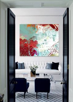 Large red green and white abstract painting | original fine art | oversized artwork | residential interior design ideas for a living room