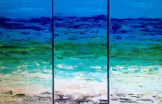 Ocean Abstract Original  Painting 3 Panels 12w x 24h by VickisArt, $185.00