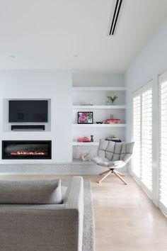 La Maison Jolie: House Envy: Dated Beach House to a Modern Family Home! Living Room Tv, Living Room With Fireplace, Home And Living, Family Room, Home And Family, Modern Family, Fireplace Built Ins, Modern Kitchen Design, Living Room Designs