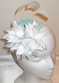 Spring Fascinator  Mint Green Base with Three White Lilies and White Feathers Fascinator by Modeste Clothing, $12.00