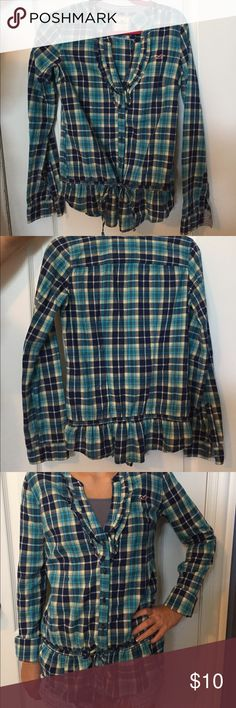 Blue flannel Blue flannel that buttons up and ties up around the waist. Hollister Tops Button Down Shirts
