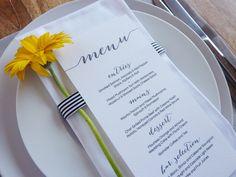 Wedding Menu - Printable - DIY Custom Wedding Decoration by WhiteWillowPaper on Etsy https://www.etsy.com/listing/163872950/wedding-menu-printable-diy-custom