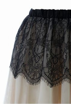 Contrast Black Lace Overlay Tulle Skirt http://rstyle.me/n/f9af7nyg6