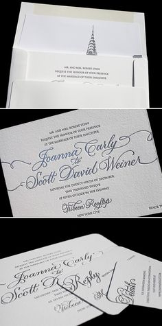 Our Victoria Calligraphy design is customized with letterpress and foil stamping for a NY city wedding