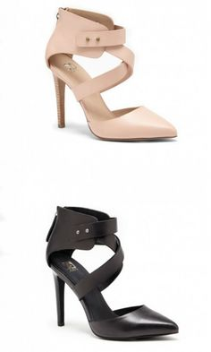 Genuine leather heels by Joe. Criss crossed pumps with a pinhole closure, pointed toe and easy back zipper.