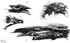 More spaceships~ Seems like I'm always adding a lemurian vessel in these. A command ship this time. Alien Concept Art, Spaceship Concept, Concept Cars, Alien Ship, Gun Turret, Alien Spaceship, Retro Futurism, Creative Thinking, Spacecraft