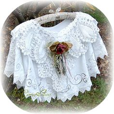 Layered vintage linens to make lace capelet