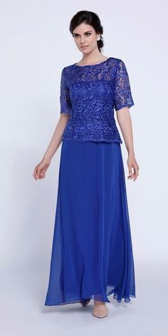 Long Lace Bodice Dress with Short Sleeves by Nox Anabel 5130 – ABC Fashion Mob Dresses, Dressy Dresses, Short Sleeve Dresses, Dresses With Sleeves, Short Sleeves, Evening Dresses For Weddings, Long Evening Gowns, Mother Of Groom Dresses, Mothers Dresses