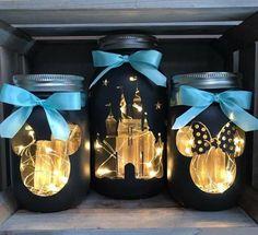 Castle Mason Jars | Etsy Pot Mason Diy, Mason Jar Crafts, Mason Jars, Cool Diy, Festa Mickey Baby, Disney Christmas Decorations, Mickey Mouse Christmas, Disney Ornaments, Minnie Mouse
