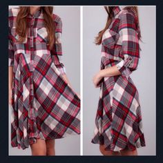 New Listing  Plaid Shirt Dress Length is 38 inches, bust is 38 inches and waist is 33 inches. Material is rayon. Price is firm unless bundled. PP Holds Trades Dresses