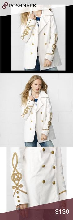 Denim & Supply Ivory Military Coat Medium NWT Brand New with tags.  Women's Denim and Supply by Ralph Lauren Designer Military Jacket Coat. size Medium M.  Ivory Off White with Gold Embroidery and gold buttons. Denim & Supply Ralph Lauren Jackets & Coats