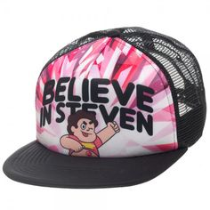 """Help Steven and the Crystal Gems save the universe with this officially licensed trucker hat! Based on the zany Cartoon Network series, this trucker style hat reads """"Believe in Steven"""" on the front. O"""