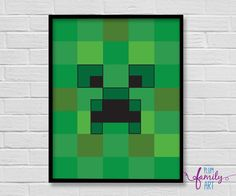 Minecraft Creeper Poster, Kids Lego Poster, Lego Poster, Minecraft Poster, Boys Room Print, Minecraft Wall Art by PlumFamilyArt on Etsy Minecraft Posters, Minecraft Wall, Poster Boys, Lego For Kids, Creepers, Wall Art, Prints, Room, Etsy