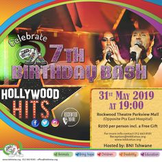 "End the month of May with a BANG ... the Tekkie Tax BIRTHDAY BASH! We are celebrating our 7th Birthday at the Rockwood Theatre (Parkview, Pta). @BNI Tshwane is hosting a ""Hollywood Hits"" productiin on 31 May at 19:00. Cost: R200 per person (incl a free gift). Book via 012 663 8181 or reception@tekkietax.org. Visit our website www.tekkietax.org for more information.  #tekkietax #mezzzmerize #tekkietize #lovingtekkies #projectk4k #TekkieTaxDay"