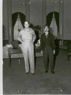 MacArthur and Hirohito in 1945