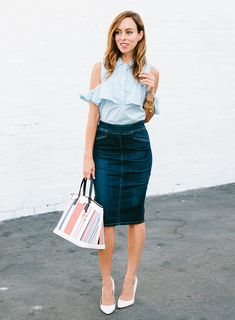 How to style a long denim skirt  How To Wear a Denim Skirt to the Office – Sydne Style