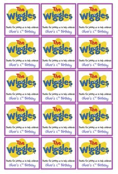 Wiggles Party box labels Wiggles Birthday, Wiggles Party, Boy First Birthday, 3rd Birthday Parties, Birthday Ideas, Wiggles Cake, The Wiggles, Party Time, Party Box