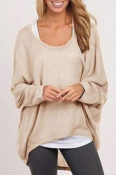 Love wearing this in spring/autumn weather~~Stylish Scoop Neck Long Sleeve Pure Color Women's Sweater