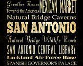 San Antonio, Texas, Typography Art  Canvas / Bus  / Transit / Subway Roll Art 20X24 - San Antonio's Attractions Wall Art Decoration-LHA-193