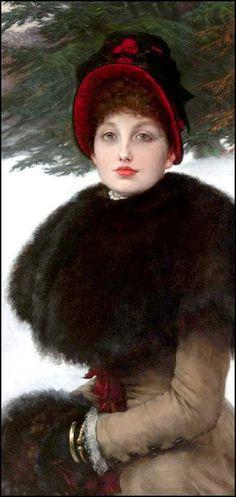 Femmes à chapeau (182) James Tissot (1836-1902) portrait de femme Berthe chapeau à rubans la lettre la façon sur le bateau A l'église portrait de femme en noir et blanc