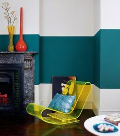 Bold teal horizontal stripe on wall