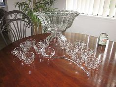 1962 Indiana Glass Co. Colonial Paneled PUNCH BOWL SET w/Scalloped Rim #7115