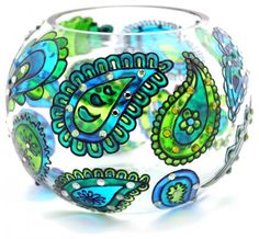 Hand Painted Glass Bowl, Blue-Green, Paisley