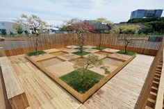 Instead of focusing on the built world, architect Kengo Kuma, plant hunter-collector Seijun Nishihata, and the firm Sumitomo Forestry looked to the environment's impact on well-being, constructing a serene, restorative outdoor space where people can interact with nature and each other #architecture #garden #jardin #bois #wood