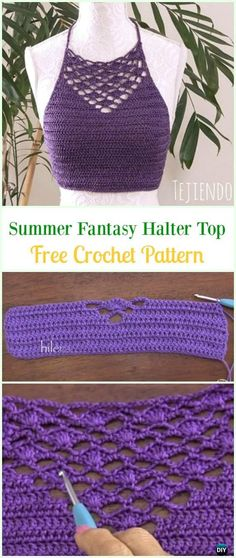 Crochet Summer Fantasy Halter Top Free Pattern Video- Summer Halter Free PatternsThe Best Crochet Halter Tops [Crochet Patterns, Free…The Amimono Kimono by Marly BirdCrochet Women Summer Jacket Cardigan Free Patterns Crochet Halter Tops, Crochet Summer Tops, Crochet Crop Top, Crochet Womens Tops, Diy Halter Top, Débardeurs Au Crochet, Crochet Patron, Crochet Woman, Crochet Poncho