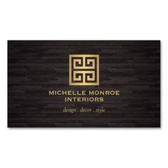 Greek Key Interior Designer Woodgrain Effect Business Card Templates